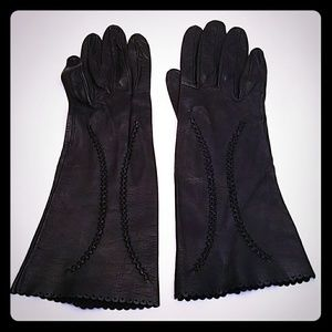 Antique Vintage Black Leather Suede Skin Gloves